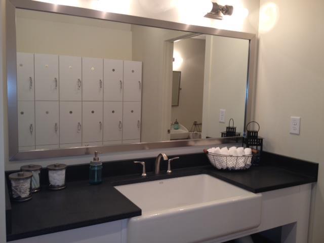 White Lockers and Sink Area at Bar Method Atlanta East Cobb