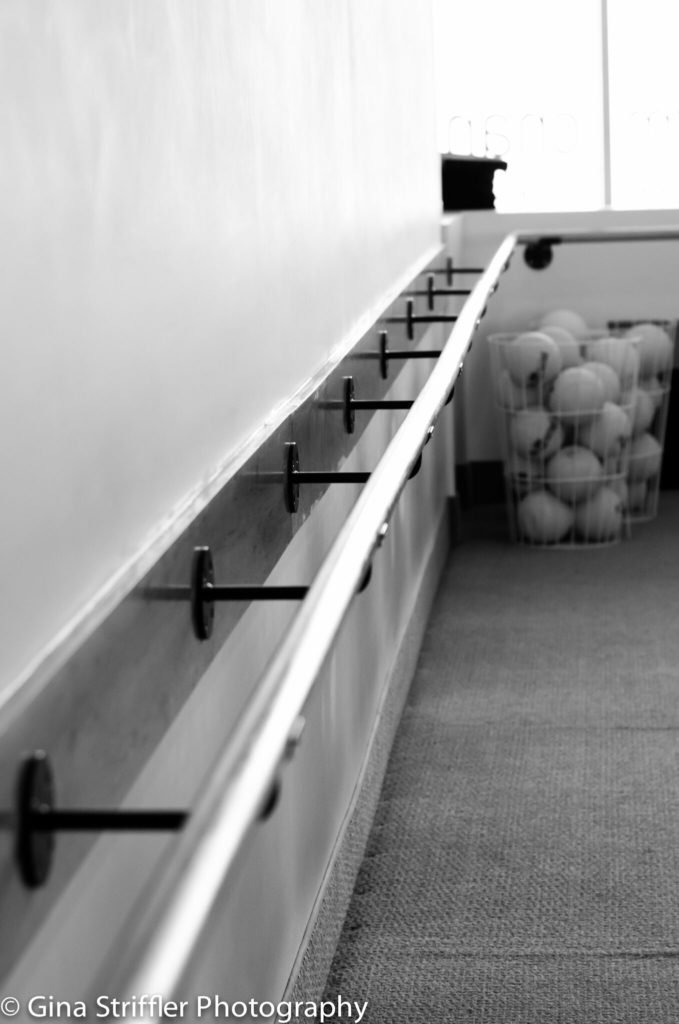 Black and White Photo of the Exercise Bar at Bar Method