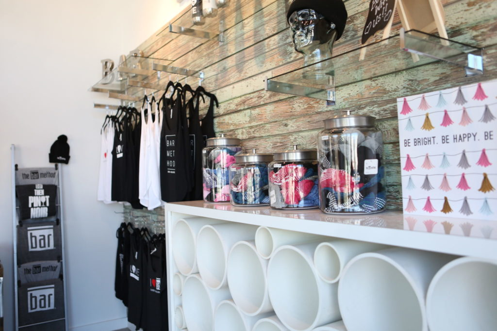 Additional image of retail area within the Bar Method Closter barre studio
