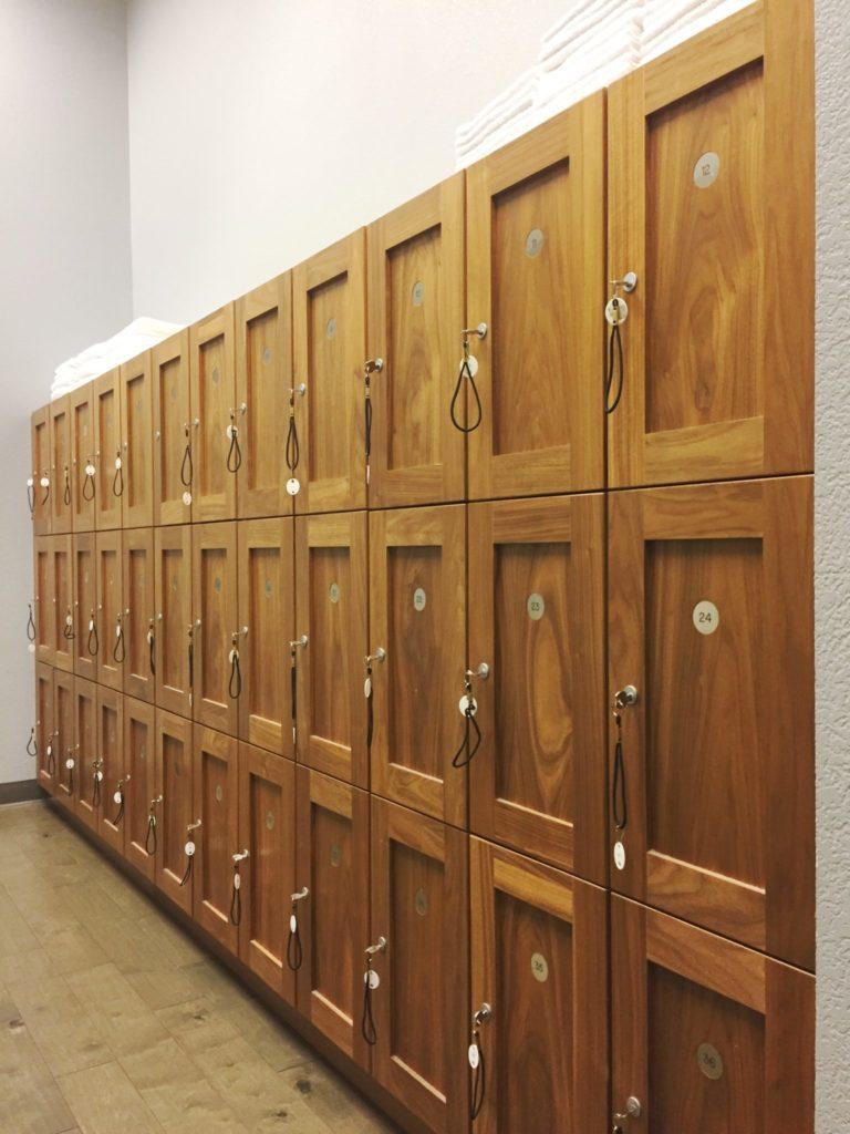 locker room at The Bar Method Santa Clara