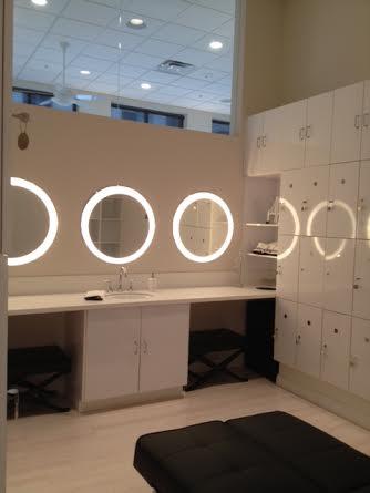 Locker room at The Bar Method St. Louis