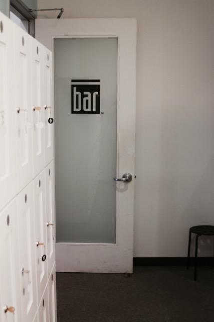 Locker room at The Bar Method Tustin