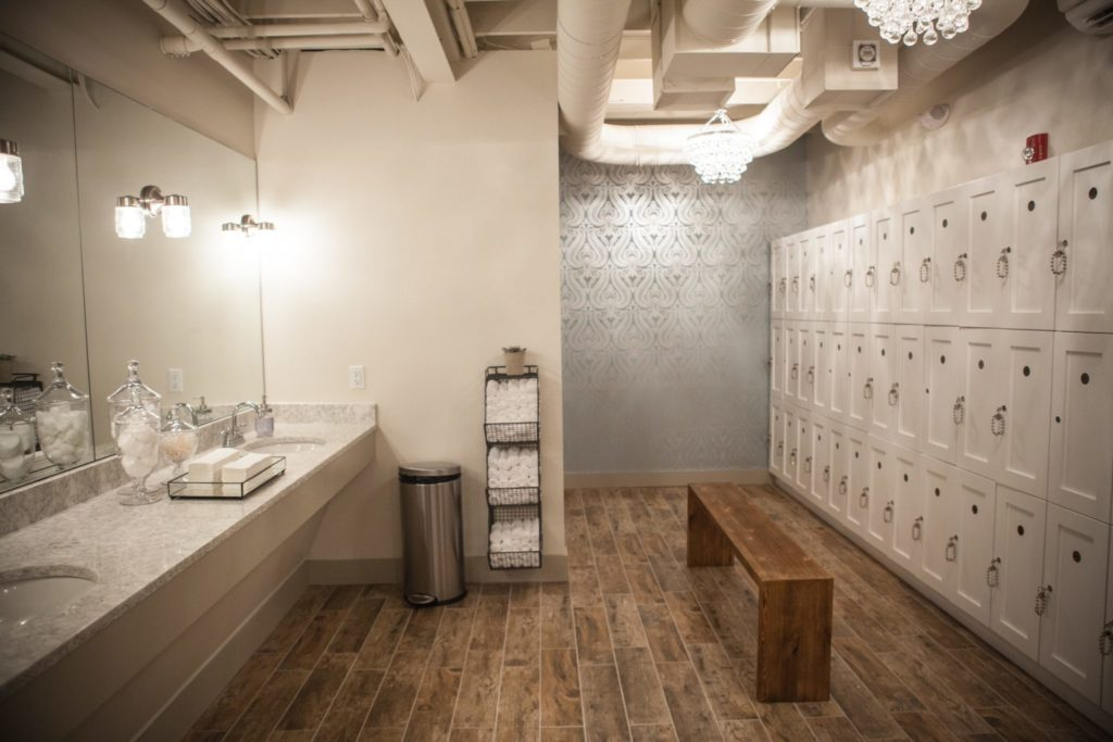 locker room at the Bar Method Wellesley