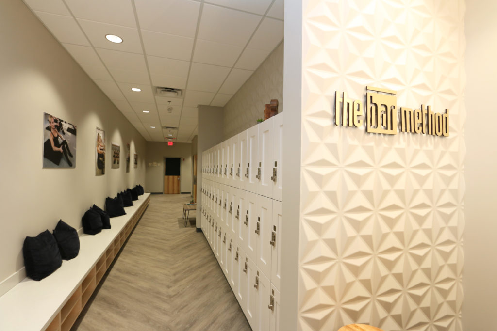 Locker room at The Bar Method Kansas City overland park