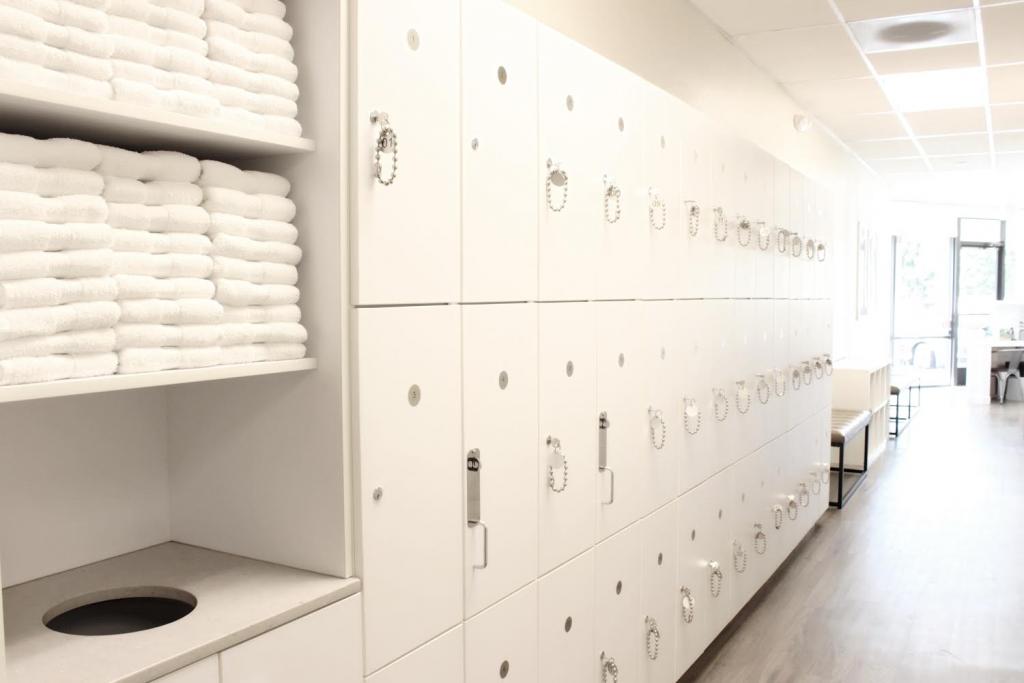 White lockers at Campbell Bar Method