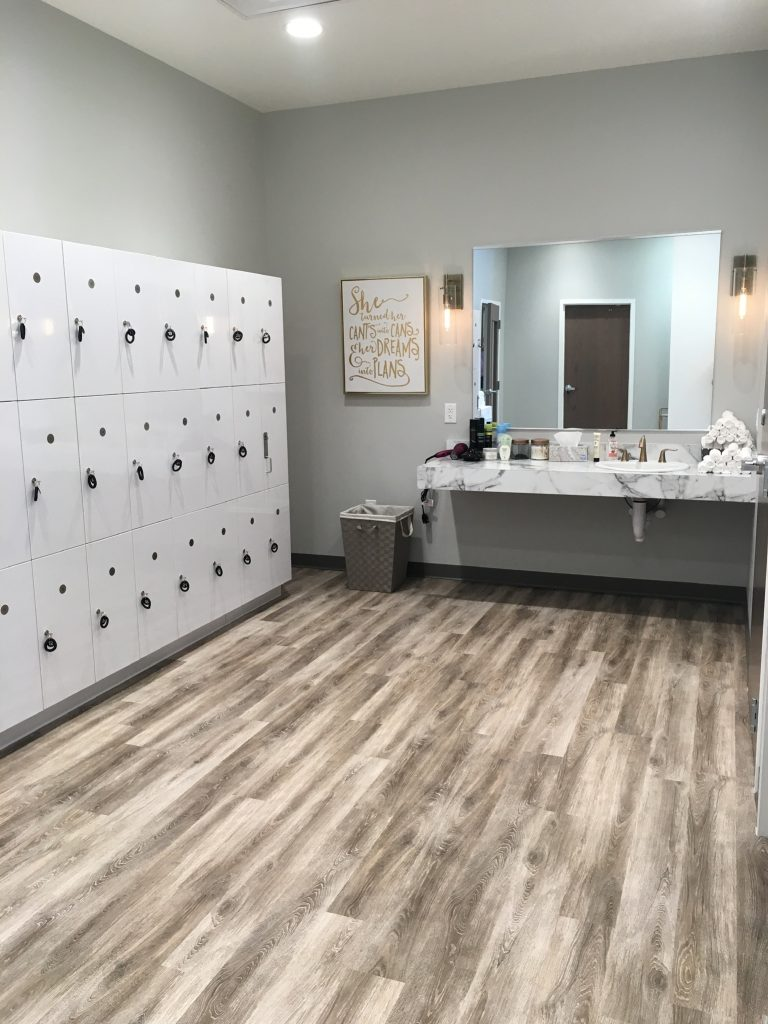 Locker room at The Bar Method Wexford